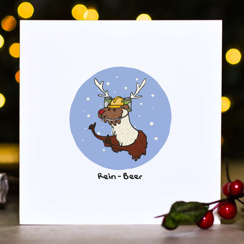 Buy Rein-Beer Christmas Card From The Crafty Giraffe, the home of unique and affordable gifts for loved ones...