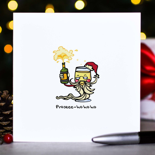 Buy Prosecc-ho ho ho Christmas Card From The Crafty Giraffe, the home of unique and affordable gifts for loved ones...