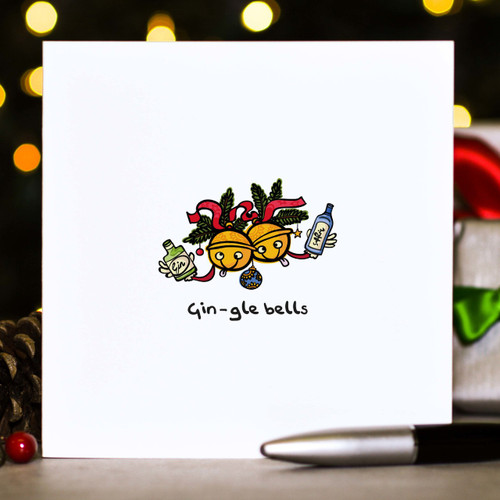 Buy Gin-gle bells Christmas Card From The Crafty Giraffe, the home of unique and affordable gifts for loved ones...