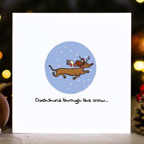 Dachshund through the snow... Christmas Card