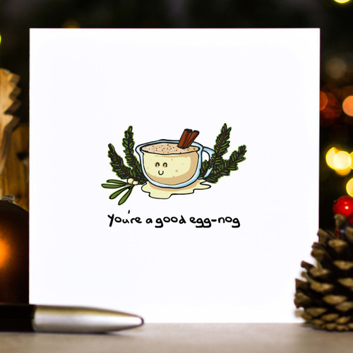 Buy You're a good egg-nog Christmas Card From The Crafty Giraffe, the home of unique and affordable gifts for loved ones...