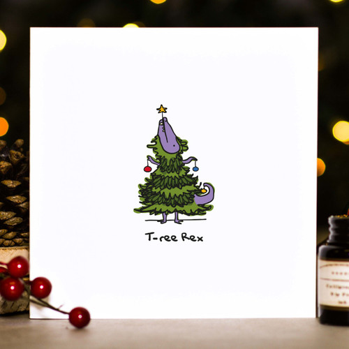 Buy T-ree Rex Christmas Card From The Crafty Giraffe, the home of unique and affordable gifts for loved ones...