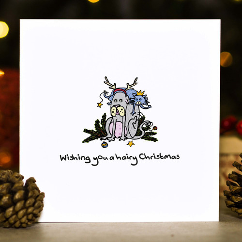 Buy Wishing you a hairy Christmas Card From The Crafty Giraffe, the home of unique and affordable gifts for loved ones...