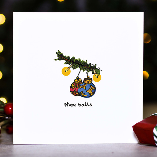 Buy Nice balls Christmas Card From The Crafty Giraffe, the home of unique and affordable gifts for loved ones...