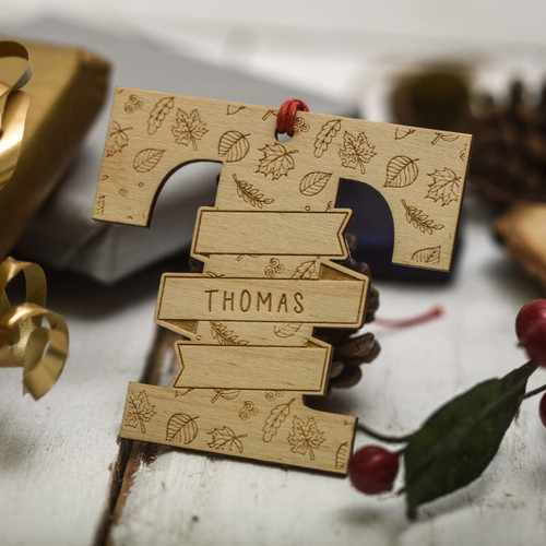 Personalised Autumn Initial Christmas Tree Decoration - The Crafty Giraffe