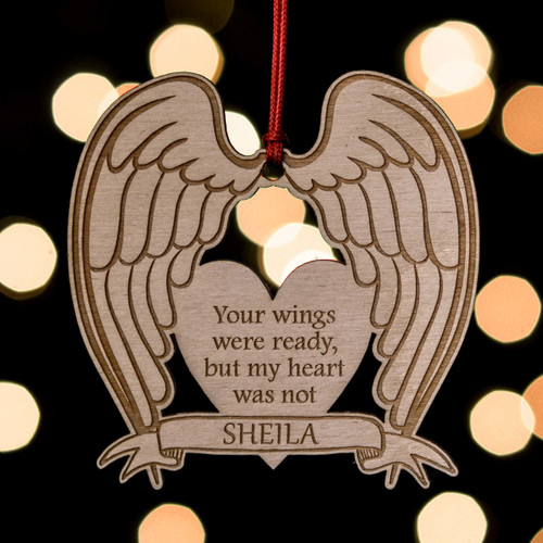 Buy Personalised Angel Wings Remembrance Decoration From The Crafty Giraffe, the home of unique and affordable gifts for loved ones...