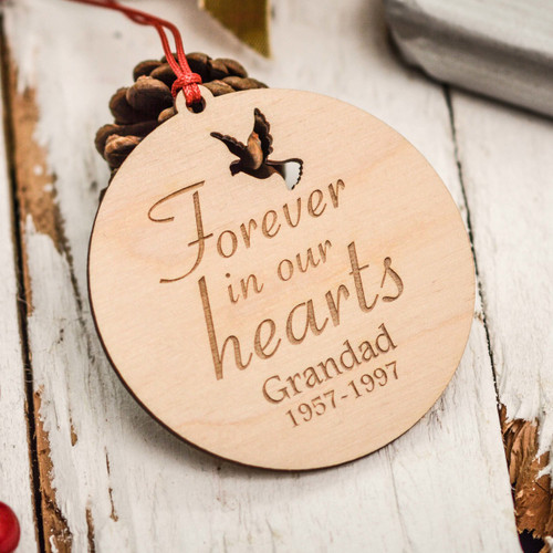 Buy Personalised Forever in our hearts Remembrance Decoration From The Crafty Giraffe, the home of unique and affordable gifts for loved ones...