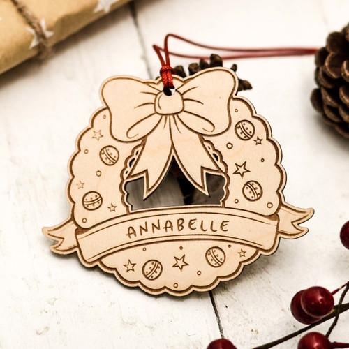 Personalised Christmas Wreath Xmas Tree Decoration - The Crafty Giraffe