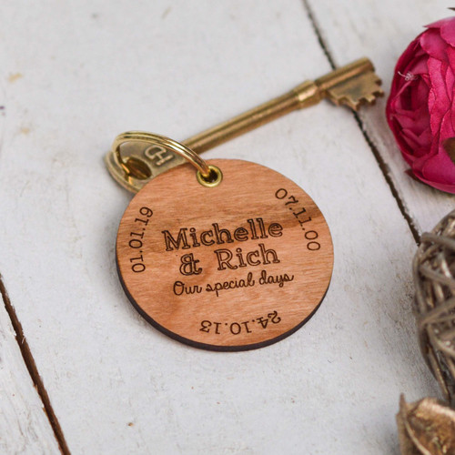 Buy Personalised Special Dates Valentines Keyring From The Crafty Giraffe, the home of unique and affordable gifts for loved ones...