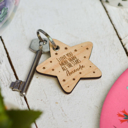 Personalised I love you more than the stars Valentines Keyring