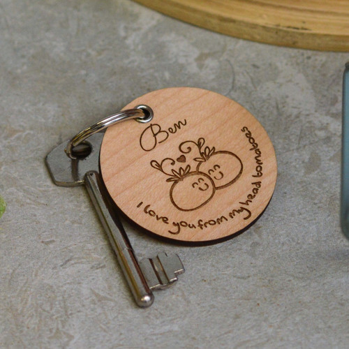 Personalised I love you from my head tomatoes Valentines Keyring