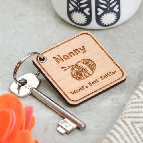 Personalised World's Best Knitter Keyring