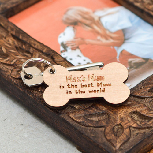 Personalised Mum Bone Keyring