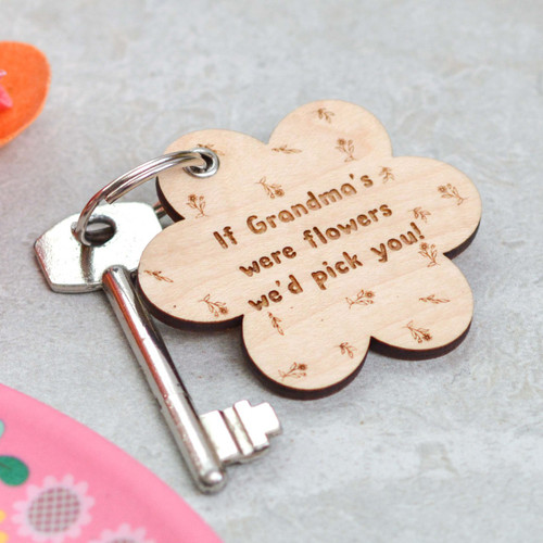 Personalised If Grandmas were flowers Keyring