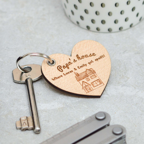 Personalised House Heart Grandad Keyring