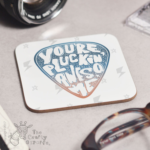 I plucking love you guitar drinks coaster