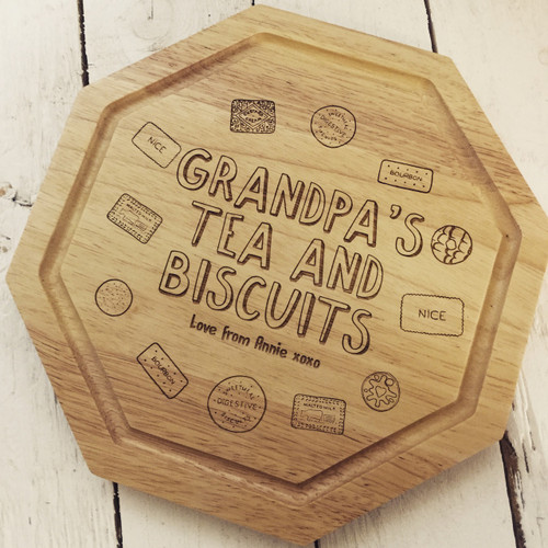 Personalised - Tea and Biscuits Board For Him