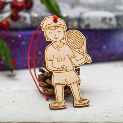 Personalised Tennis Boy Decoration
