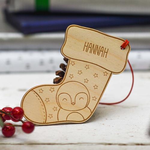 Personalised Penguin stocking Decoration