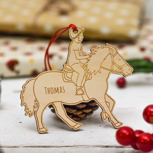 Personalised Horse Riding Boy Decoration