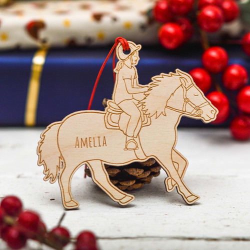 Personalised Horse Riding Girl Decoration