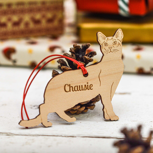 Personalised Chausie Cat Decoration