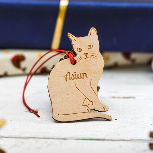 Personalised Asian Cat Decoration