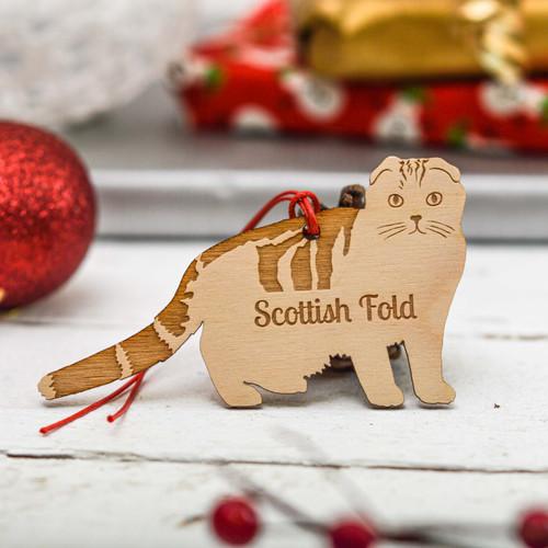 Personalised Scottish Fold Cat Decoration