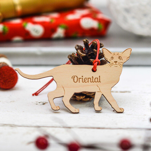 Personalised Oriental Cat Decoration