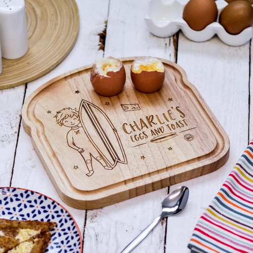 Buy Personalised Breakfast Egg Board - Surfing Boy From The Crafty Giraffe, the home of unique and affordable gifts for loved ones...
