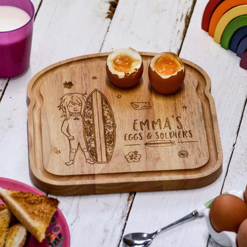 Personalised Breakfast Egg Board - Surfing Girl