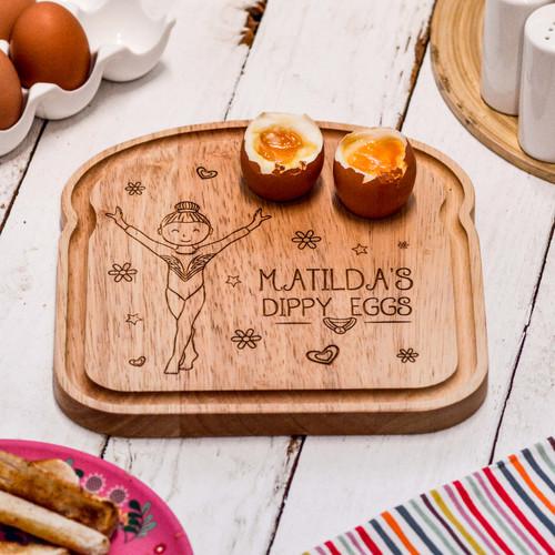 Personalised Breakfast Egg Board - Gymnast