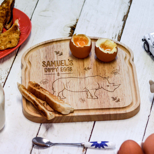 Personalised Breakfast Egg Board - Rhino