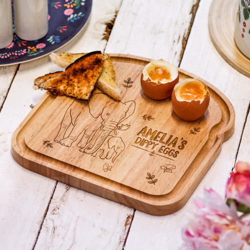 Personalised Breakfast Egg Board - Elephant