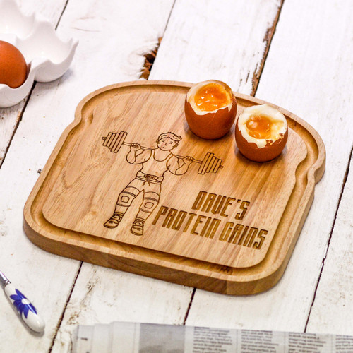 Personalised Breakfast Egg Board - Weightlifter