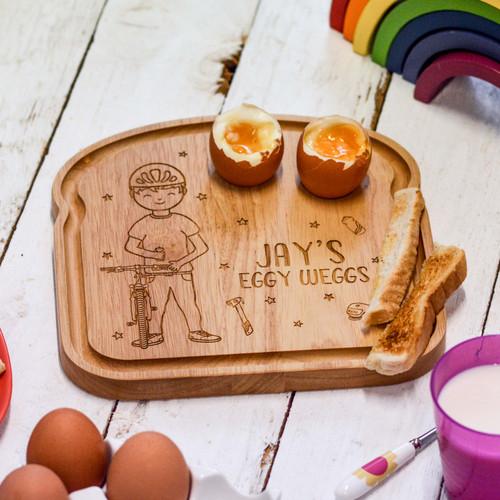 Personalised Breakfast Egg Board - Cyclist Boy