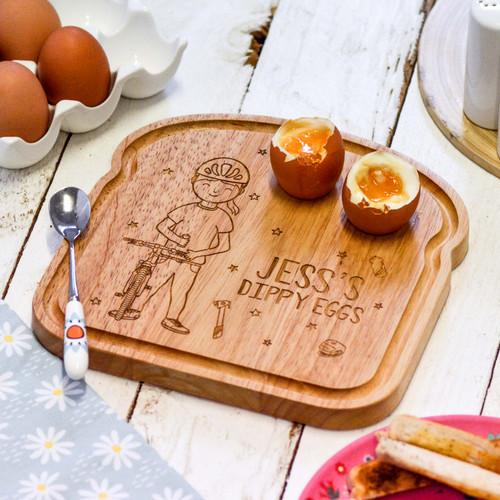 Personalised Breakfast Egg Board - Cyclist Girl