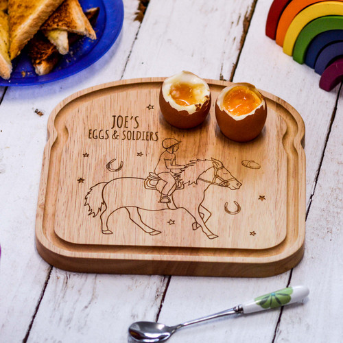 Personalised Breakfast Egg Board - Horse Riding Boy