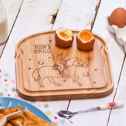 Personalised Breakfast Egg Board - Horse Riding Girl