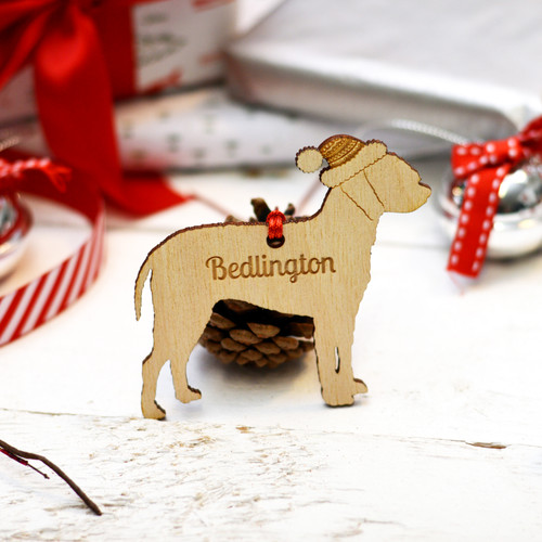 Personalised Bedlington Dog Decoration.