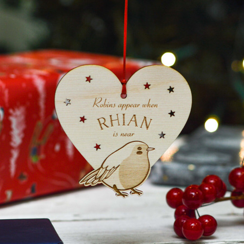 Personalised Robins Appear Remembrance Decoration