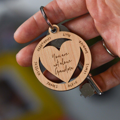 Personalised You are not alone Heart Keyring