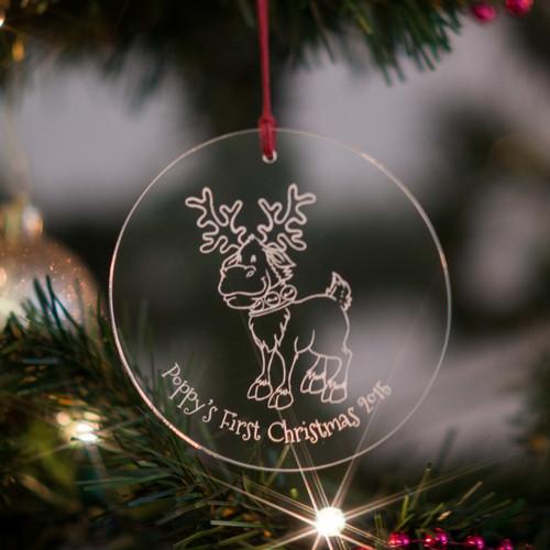 Personalised Reindeer Bauble - The Crafty Giraffe