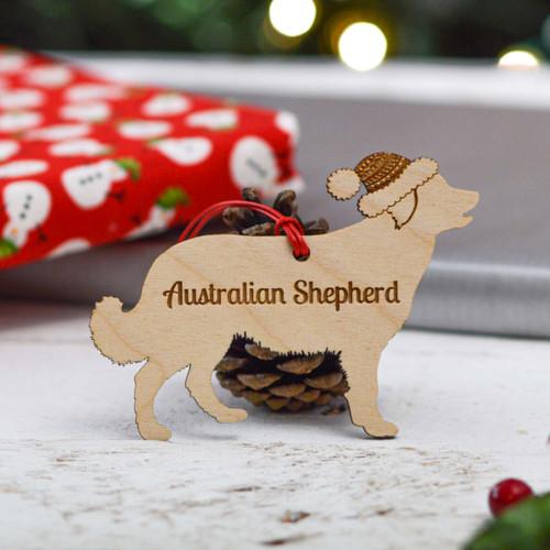 Personalised Australian Shepherd Long Tail Dog Decoration