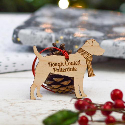Personalised Rough Coated Patterdale Dog Decoration