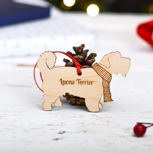 Personalised Lucas Terrier Dog Decoration