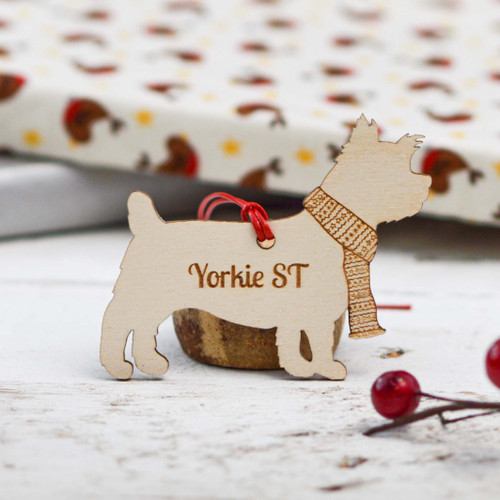 Personalised Yorkshire Terrier Short Tail Dog Decoration