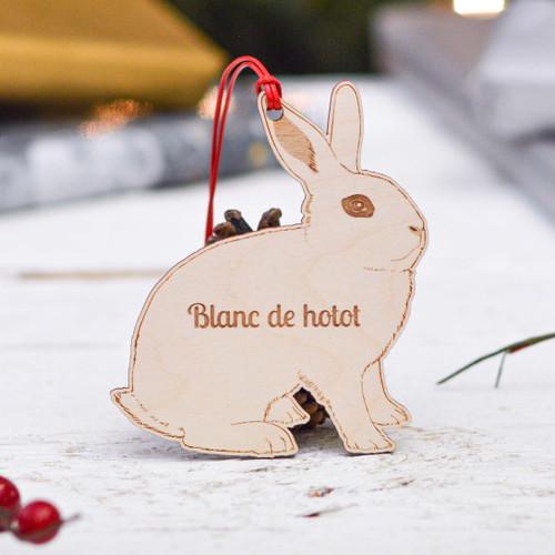 Personalised Blanc De Hotot Rabbit Decoration