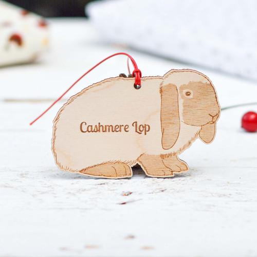 Personalised Cashmere Lop Rabbit Decoration