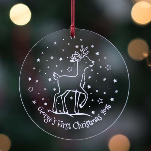 Personalised Starry Reindeer Bauble - The Crafty Giraffe